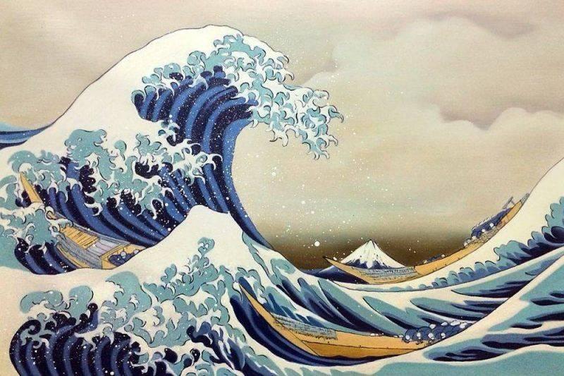 «Большая волна в Канагаве» Кацусика Хокусай Логотип Quiksilver - Каменный лес Stone Forest