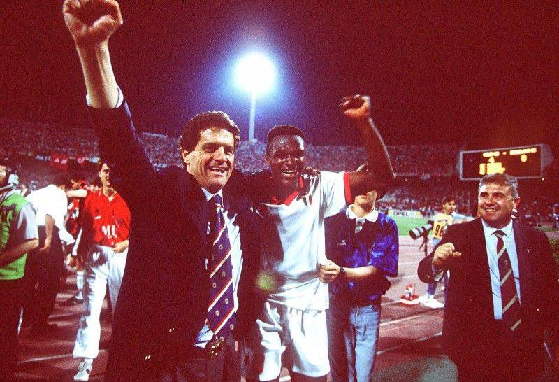 ATHENS, GREECE - MAY 18: CHAMPIONS LEAGUE 93/94, FINALE 1994, Athen; AC MAILAND - FC BARCELONA 4:0; JUBEL TRAINER Fabio CAPELLO, Marcel DESAILLY/MAILAND (Photo by Michael Kunkel/Bongarts/Getty Images)