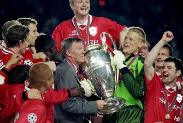 26 May 1999:  Manchester United manager Alex Ferguson and keeper Peter Schmeichel with the trophy after a 2-1 victory over Bayern Munich in the UEFA Champions League Final at the Nou Camp in Barcelona, Spain.   Mandatory Credit: Phil Cole /Allsport
