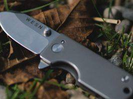 The WESN Titanium Micro Blade EDC Pocket Knife Keychain - Stone Forest