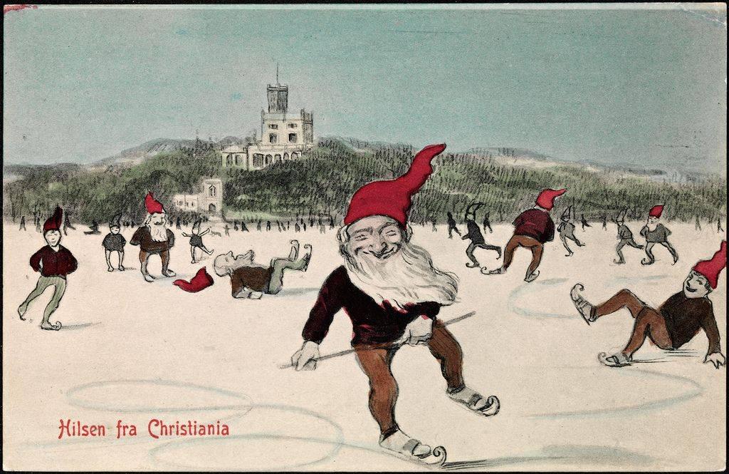 Винтажная Рождественская открытка из Норвегии - Stone Forest