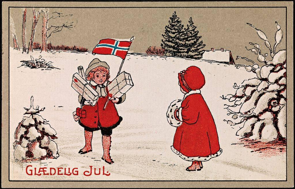 Ручная Рождественская открытка из Норвегии - Stone Forest