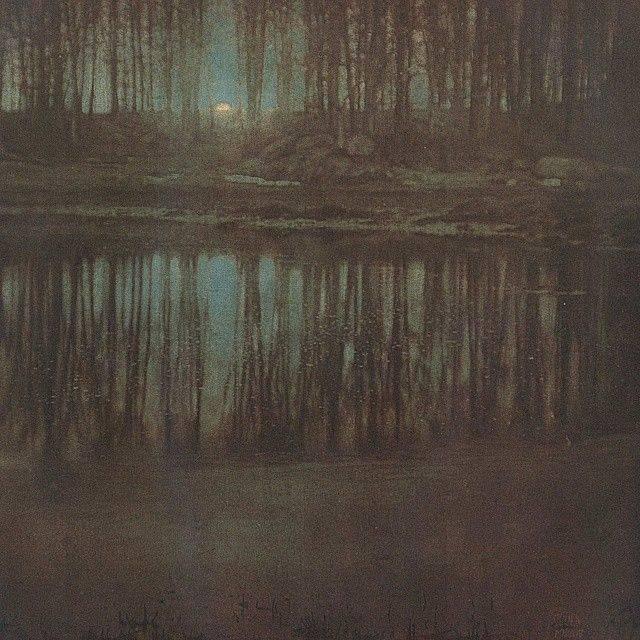 Эдвард Стайхен Озеро в лунном свете - Каменный лес Stone Forest