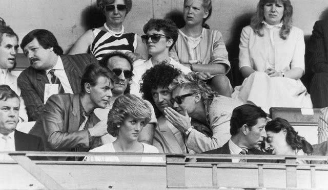 Дэвид Боуи с Бобом Гелдолфом, Принцем Чарльзом, Принцессой Дианой, Роджером Тейлором, Брайаном Мэем - Каменный лес Stone Forest