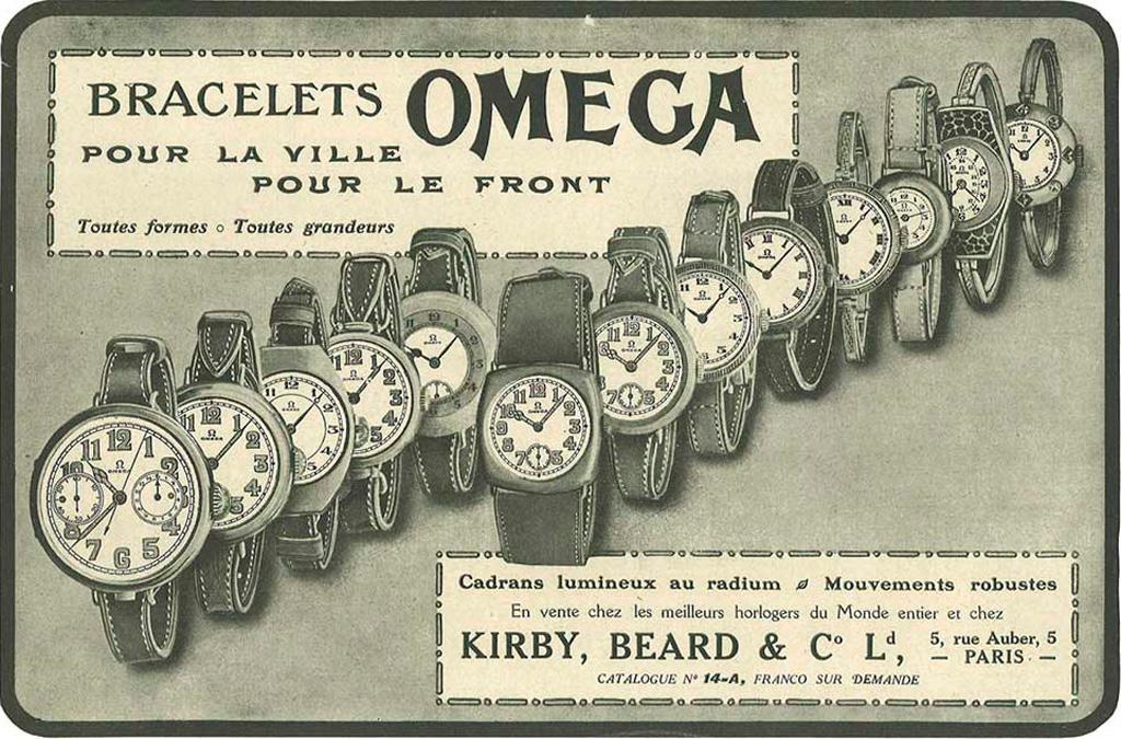 старинная реклама часов Омега