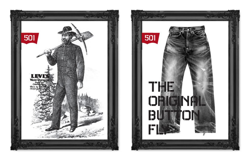 Джинсы Levis 501 старая реклама