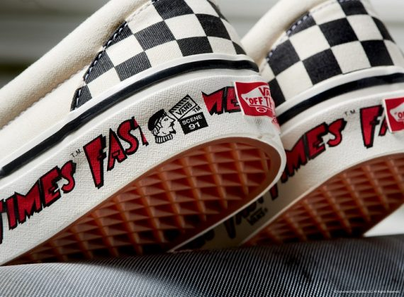 Кеды Vans Checkerboard Slip-On - Каменный лес Stone Forest