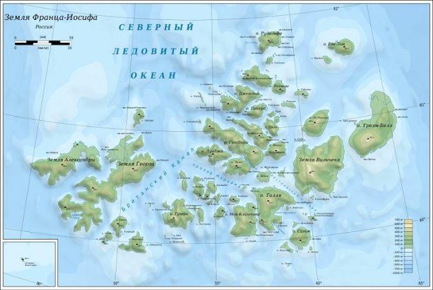 Карта архипелага Земля Франца Иосифа - Каменный лес Stone Forest