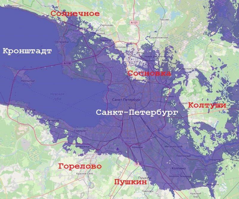 Район затопления Санкт-Петербурга при высоте воды 30 метров