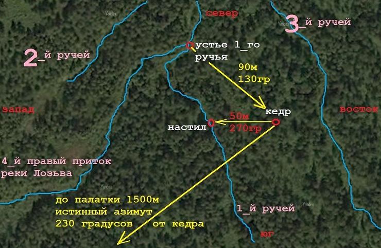 Расположение настила и кедра на снимке из космоса перевал Дятлова - Каменный лес Stone Forest
